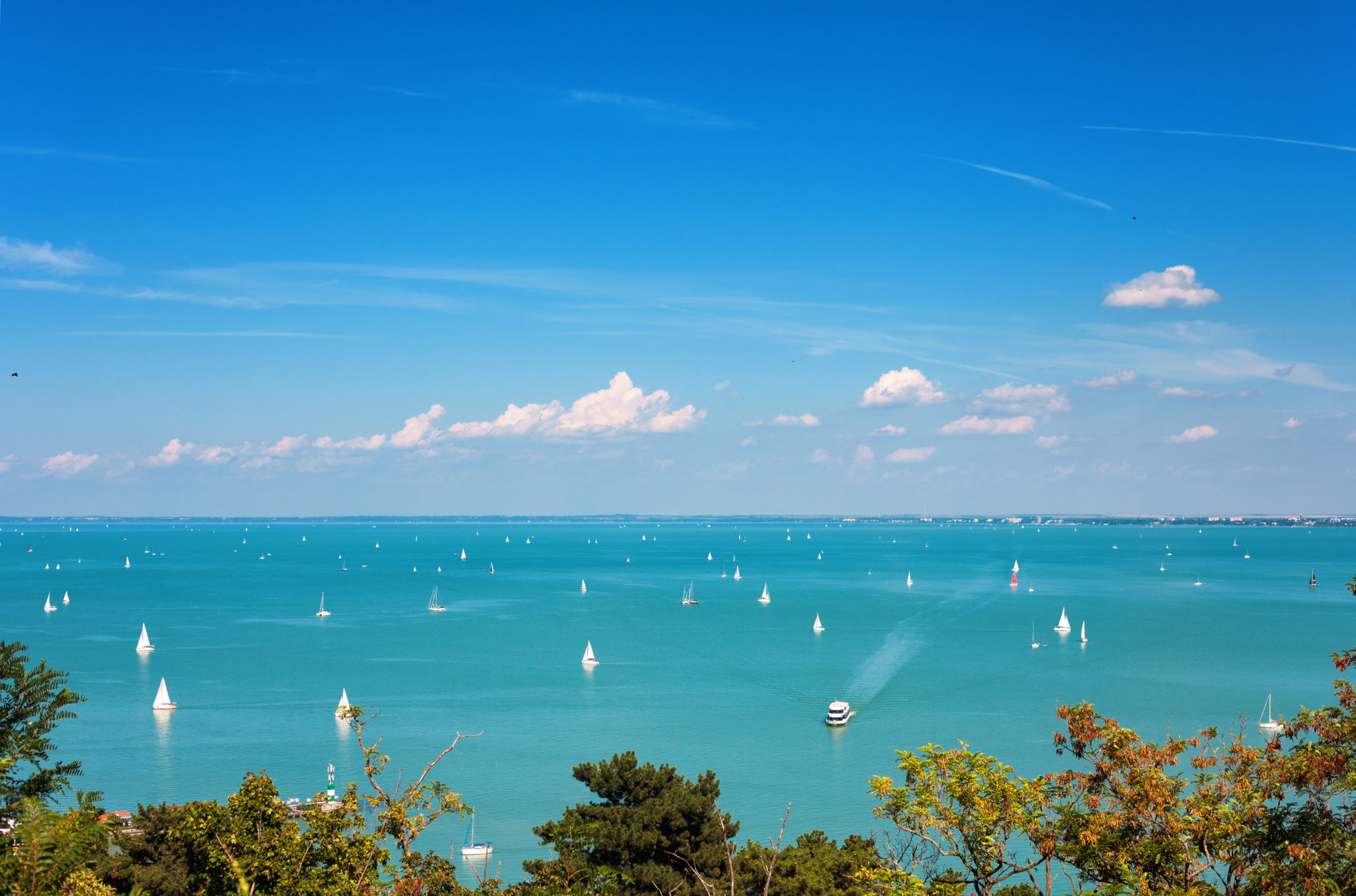 View of Lake Balaton with lots of ships from Tihany village in Hungary
