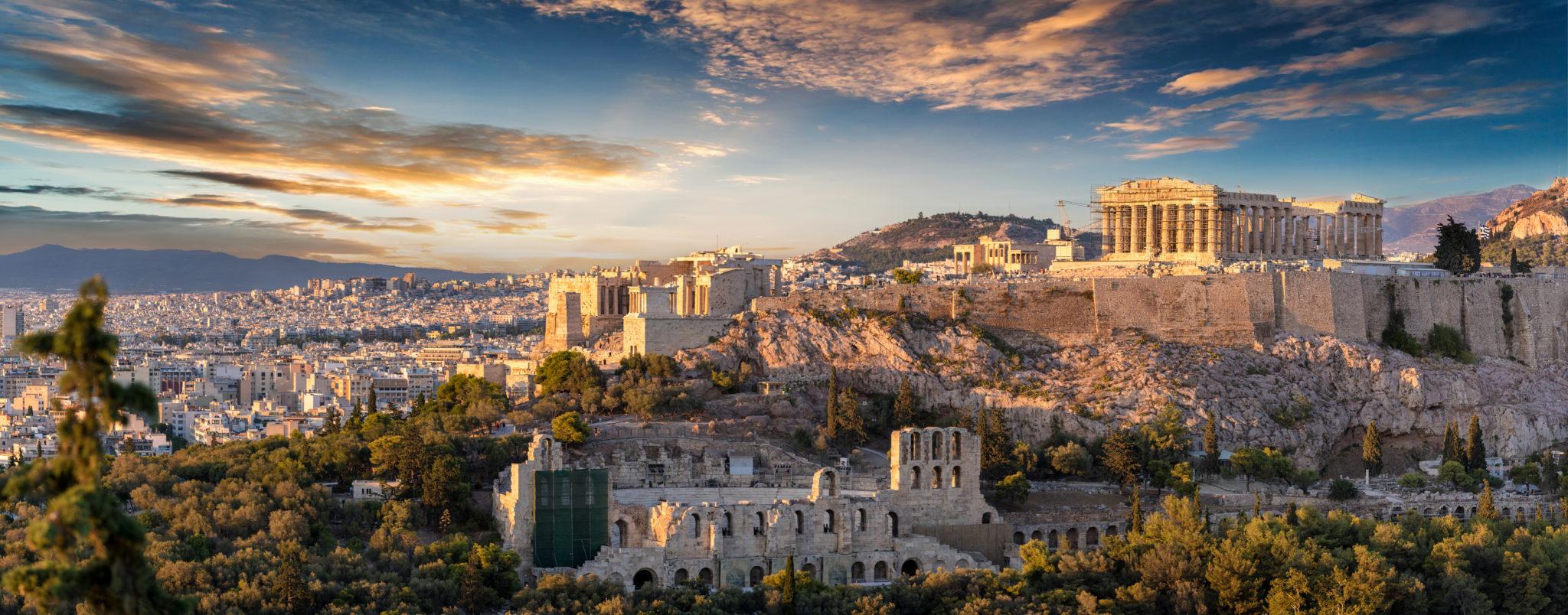 Panorama der Akropolis von Athen bei Sonnenuntergang