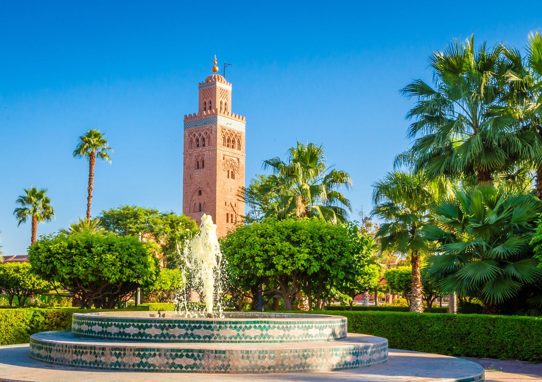 Koutoubia Mosque minaret in old medina of Marrakesh, Morocco