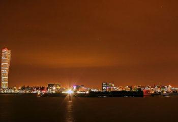 Malmö Skyline bei Nacht