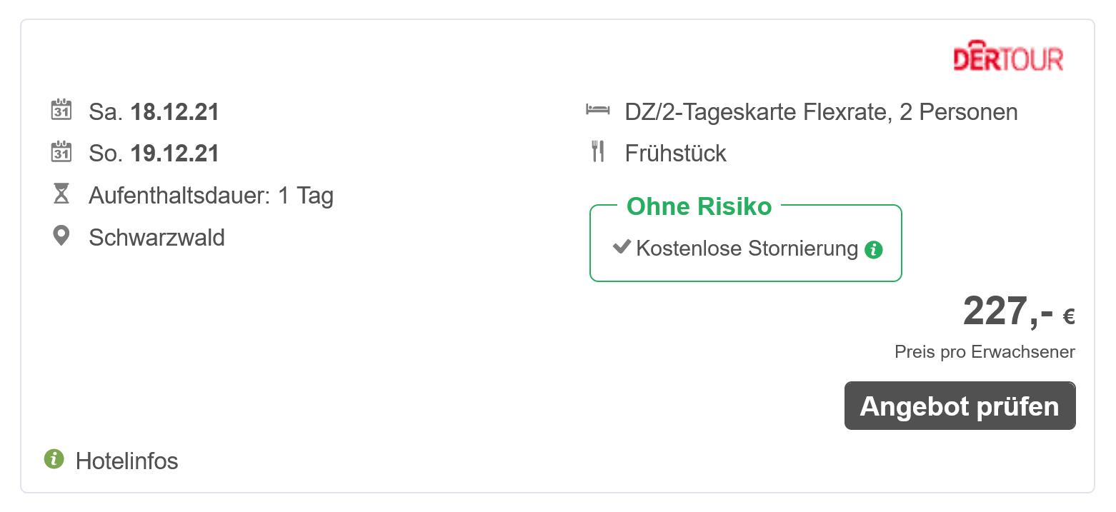 Screenshot eines Europapark Angebots von FairWeg