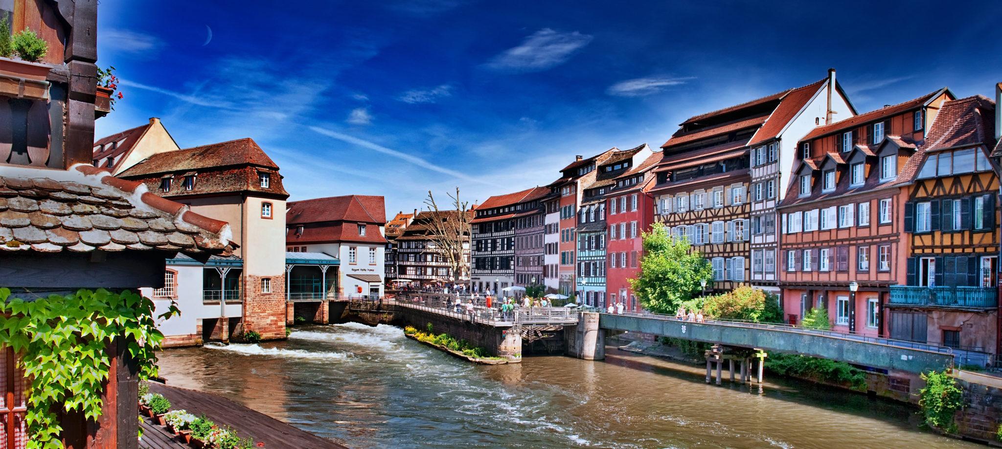 Blick auf das Viertel Petite France in Straßburg