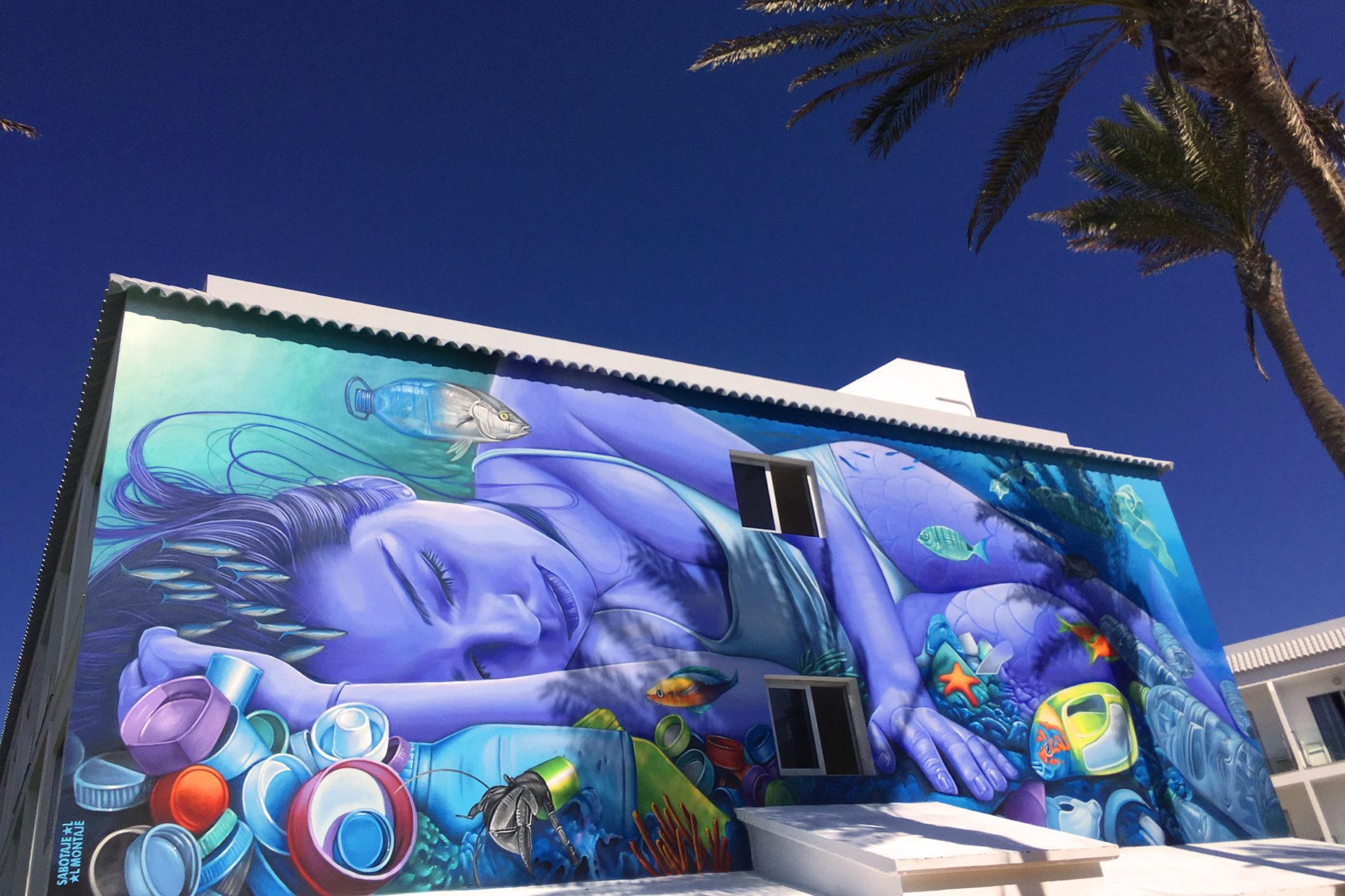 Meerjungfrau Graffito zum Thema Schutz der Meere