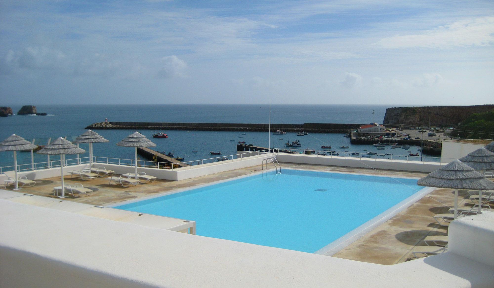 Hotel Memmo Baleeira - Blick auf den Hafen von Sagres