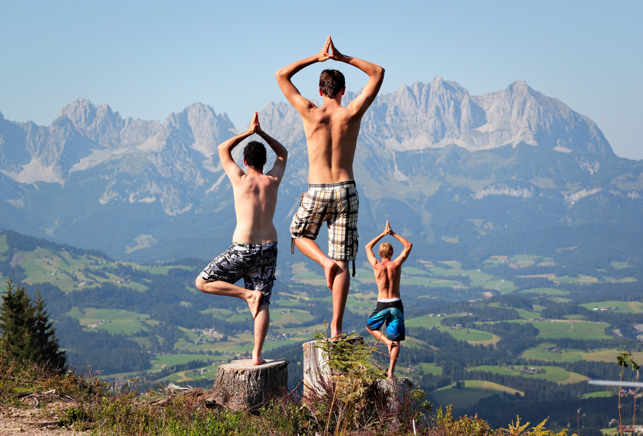 Yoga Session in den Tiroler Alpen