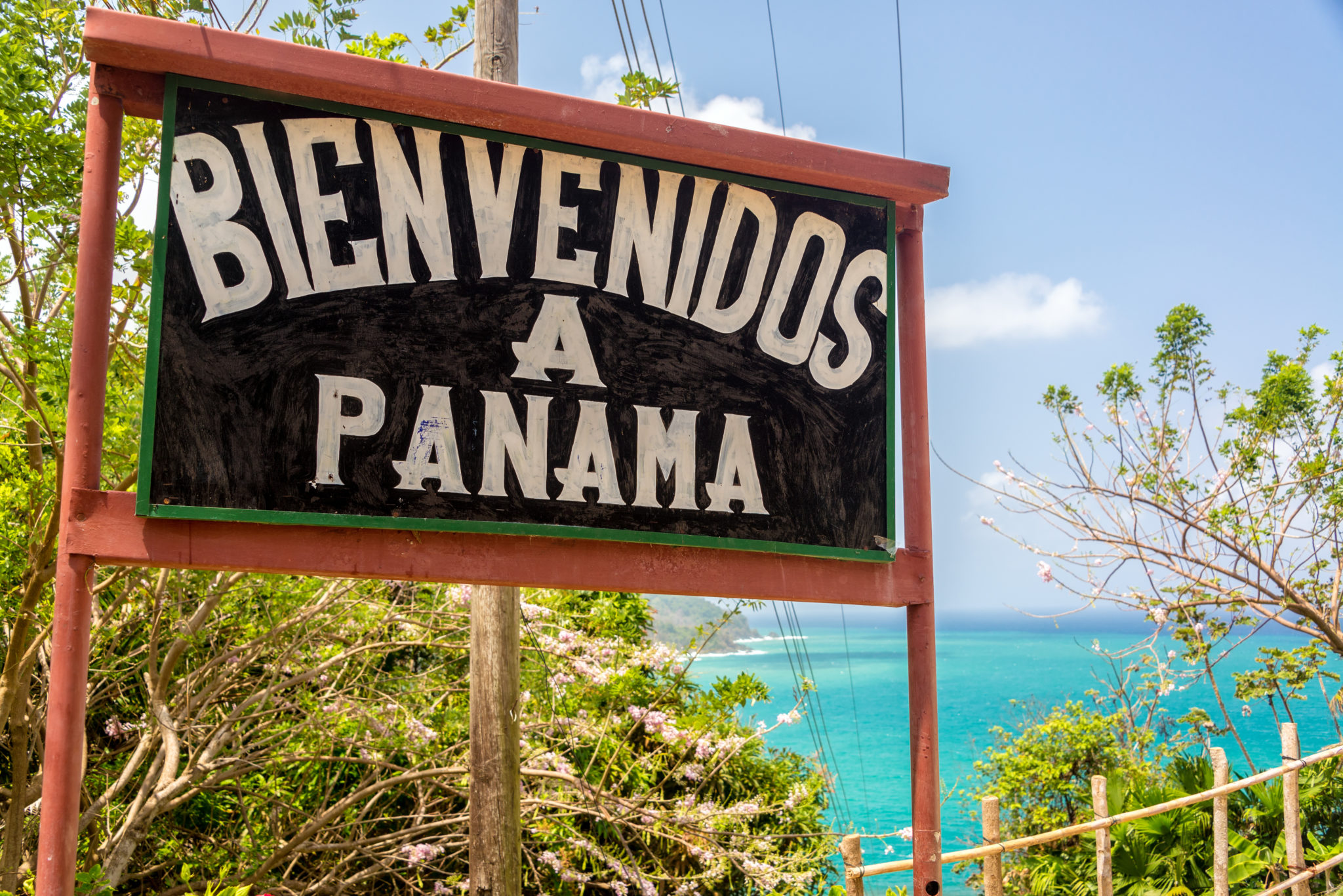 Willkommens-Schild am Grenzübergang Kolumbien-Panama